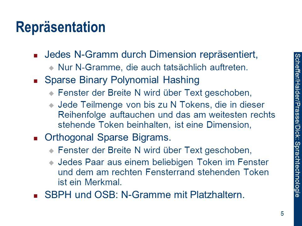 Scheffer/Sawade: Sprachtechnologie Scheffer/Haider/Prasse/Dick: Sprachtechnologie 5 Repräsentation Jedes N-Gramm durch Dimension repräsentiert,  Nur