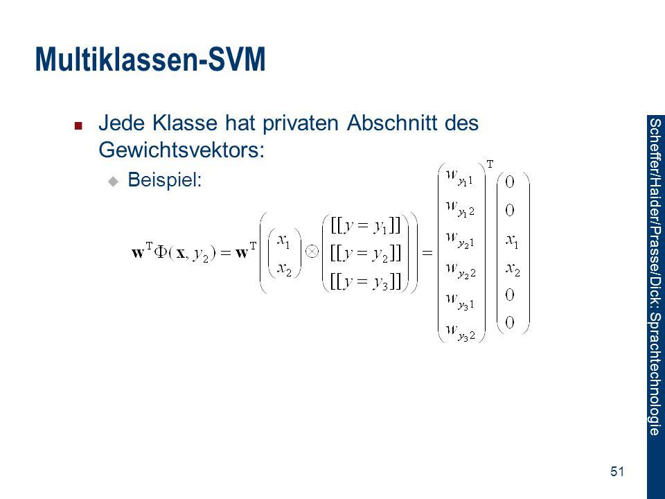 Scheffer/Sawade: Sprachtechnologie Scheffer/Haider/Prasse/Dick: Sprachtechnologie 51 Multiklassen-SVM Jede Klasse hat privaten Abschnitt des Gewichtsv
