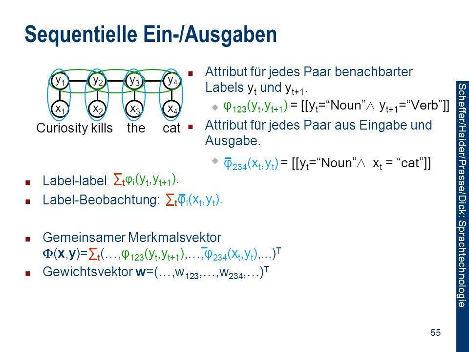 Scheffer/Sawade: Sprachtechnologie Scheffer/Haider/Prasse/Dick: Sprachtechnologie 55 Label-label: Label-Beobachtung: Gemeinsamer Merkmalsvektor  (x,y