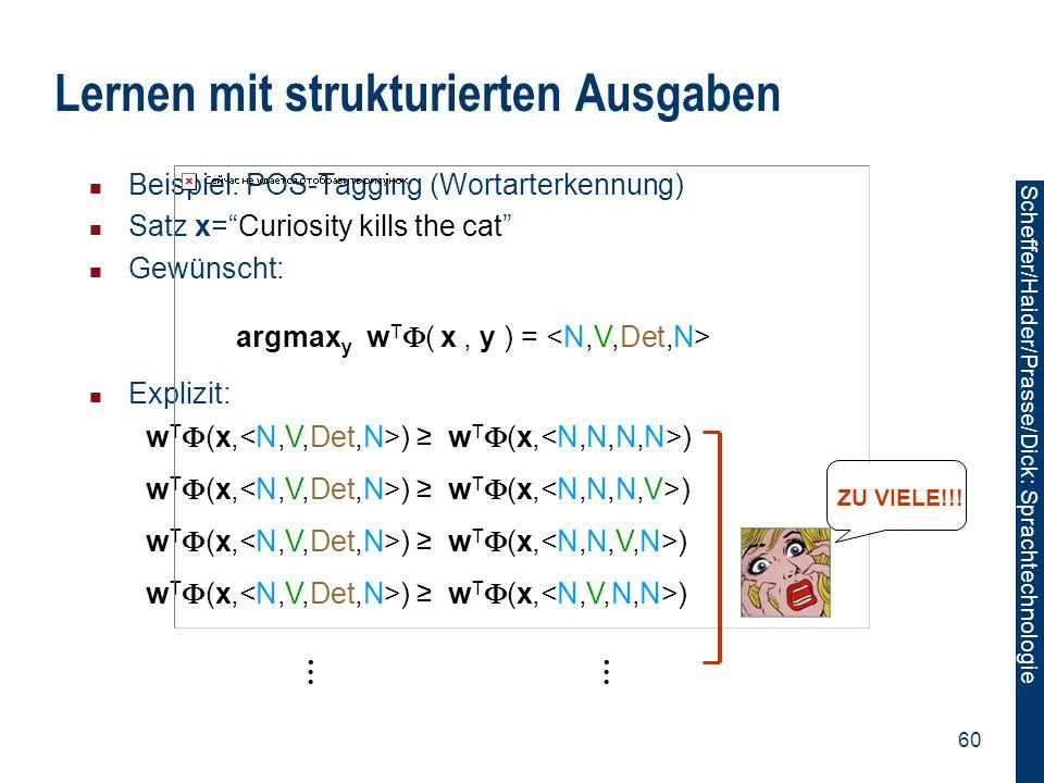 Scheffer/Sawade: Sprachtechnologie Scheffer/Haider/Prasse/Dick: Sprachtechnologie 60 w T  (x, ) ≥ w T  (x, ) Beispiel: POS-Tagging (Wortarterkennung