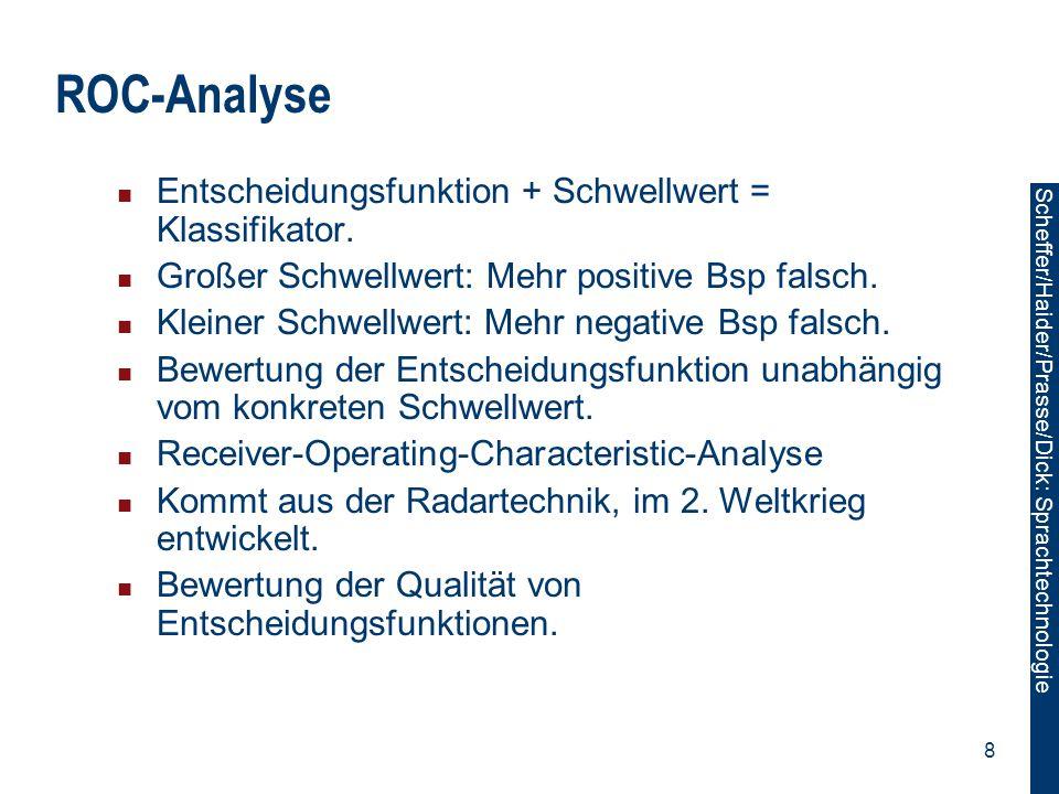 Scheffer/Sawade: Sprachtechnologie Scheffer/Haider/Prasse/Dick: Sprachtechnologie 8 ROC-Analyse Entscheidungsfunktion + Schwellwert = Klassifikator. G
