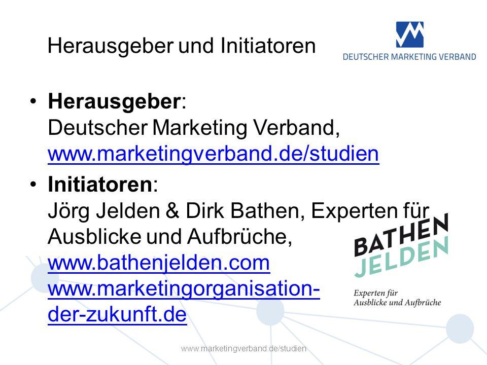Herausgeber und Initiatoren Herausgeber: Deutscher Marketing Verband, www.marketingverband.de/studien www.marketingverband.de/studien Initiatoren: Jörg Jelden & Dirk Bathen, Experten für Ausblicke und Aufbrüche, www.bathenjelden.com www.marketingorganisation- der-zukunft.de www.bathenjelden.com www.marketingorganisation- der-zukunft.de www.marketingverband.de/studien