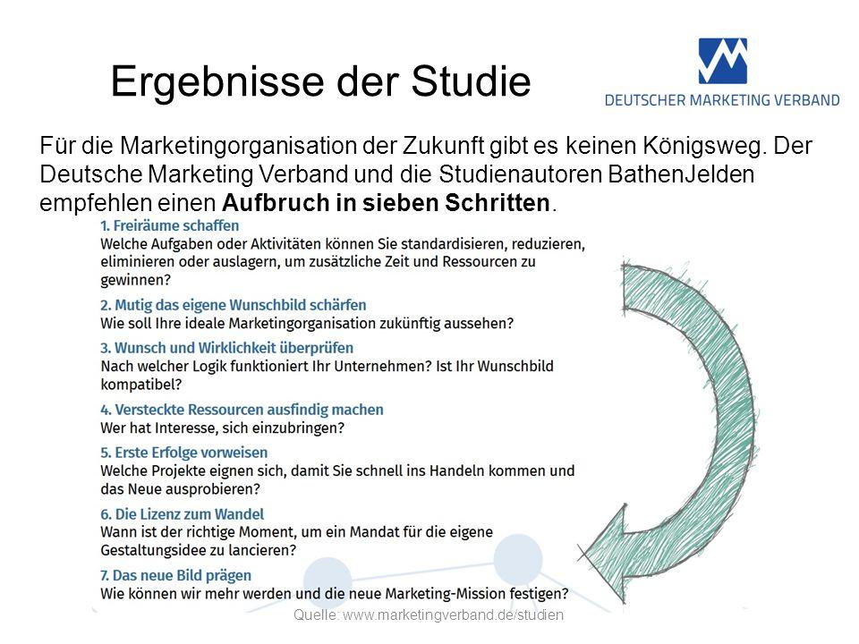 Ergebnisse der Studie Für die Marketingorganisation der Zukunft gibt es keinen Königsweg. Der Deutsche Marketing Verband und die Studienautoren Bathen