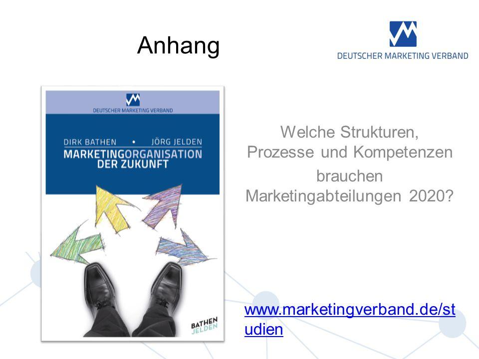 Welche Strukturen, Prozesse und Kompetenzen brauchen Marketingabteilungen 2020? Anhang www.marketingverband.de/st udien