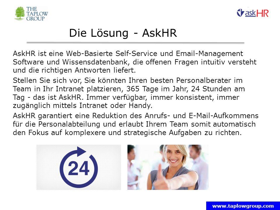www.taplowgroup.com Die Lösung - AskHR AskHR ist eine Web-Basierte Self-Service und Email-Management Software und Wissensdatenbank, die offenen Fragen intuitiv versteht und die richtigen Antworten liefert.