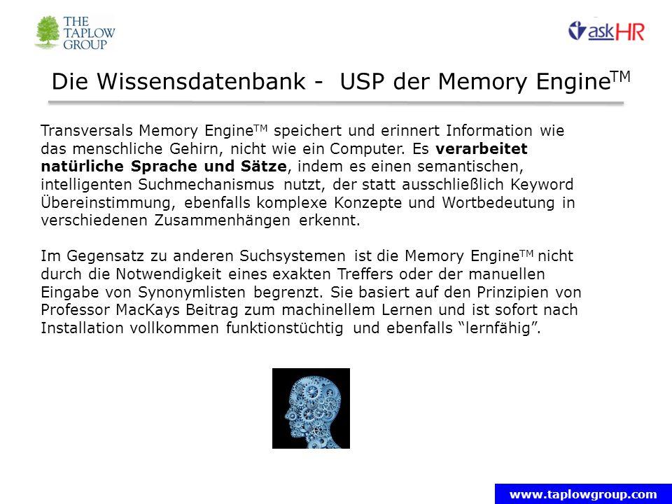www.taplowgroup.com Die Wissensdatenbank - USP der Memory Engine TM Transversals Memory Engine TM speichert und erinnert Information wie das menschliche Gehirn, nicht wie ein Computer.