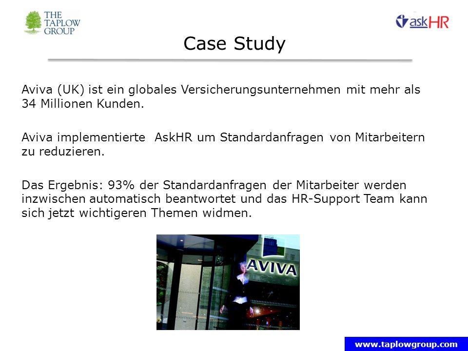 www.taplowgroup.com Case Study Aviva (UK) ist ein globales Versicherungsunternehmen mit mehr als 34 Millionen Kunden.