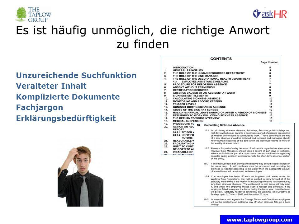 www.taplowgroup.com Es ist häufig unmöglich, die richtige Anwort zu finden Unzureichende Suchfunktion Veralteter Inhalt Komplizierte Dokumente Fachjargon Erklärungsbedürftigkeit