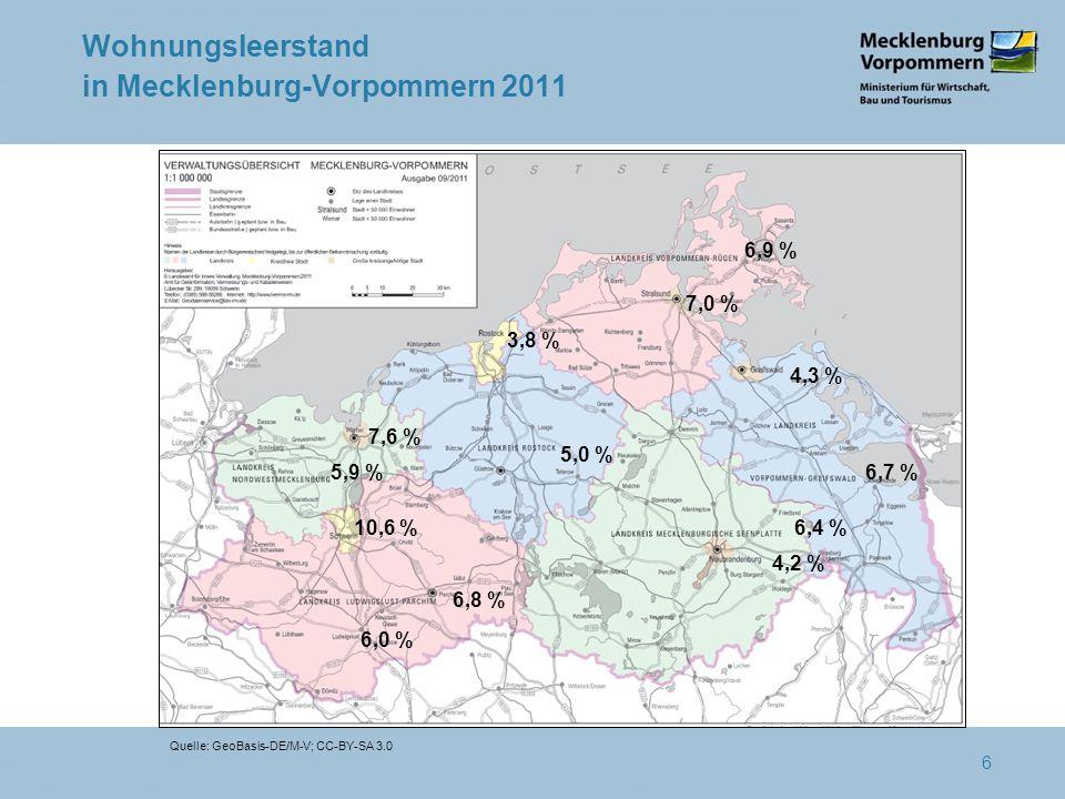 Wohnungsleerstand in Mecklenburg-Vorpommern 2011 5,0 % 6,4 % 4,2 % 6,7 % 6,9 % 6,8 % 10,6 % 6,0 % 7,0 % 3,8 % 7,6 % 5,9 % 4,3 % Quelle: GeoBasis-DE/M-V; CC-BY-SA 3.0 6
