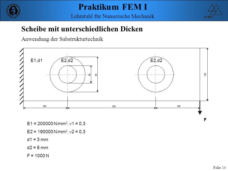 Praktikum FEM I Folie 14 Lehrstuhl für Numerische Mechanik E1,d1E2,d2 F E1 = 200000 N/mm 2, 1 = 0,3 E2 = 190000 N/mm 2, 2 = 0,3 d1 = 3 mm d2 = 6 mm F
