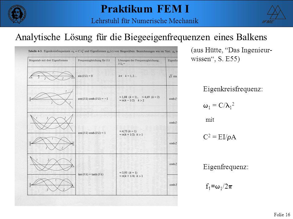 """Praktikum FEM I Folie 16 Lehrstuhl für Numerische Mechanik Analytische Lösung für die Biegeeigenfrequenzen eines Balkens (aus Hütte, """"Das Ingenieur- w"""