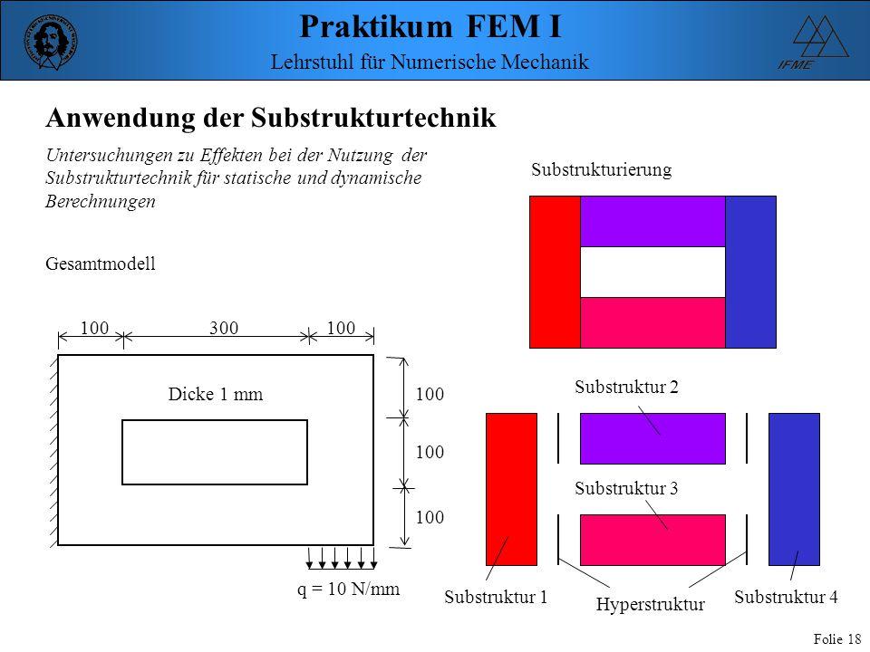 Praktikum FEM I Folie 18 Lehrstuhl für Numerische Mechanik Anwendung der Substrukturtechnik 100300100 q = 10 N/mm Dicke 1 mm Substrukturierung Gesamtm