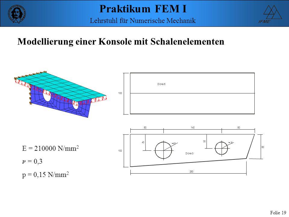 Praktikum FEM I Folie 19 Lehrstuhl für Numerische Mechanik 100 80 40 30 80 60 280 r=20 r=15 140 Dicke 5 Dicke 3 Modellierung einer Konsole mit Schalen