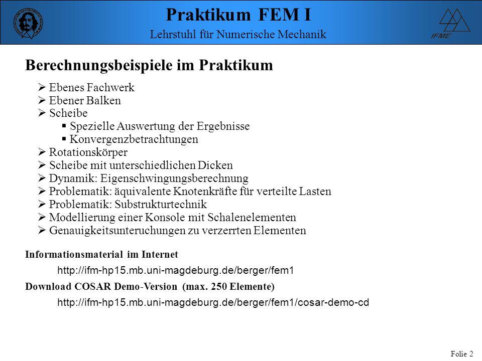 Praktikum FEM I Folie 2 Lehrstuhl für Numerische Mechanik Berechnungsbeispiele im Praktikum  Ebenes Fachwerk  Ebener Balken  Scheibe  Spezielle Au