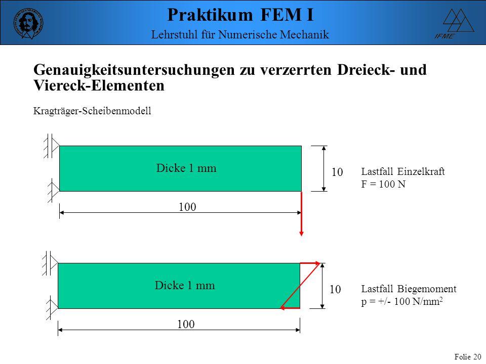 Praktikum FEM I Folie 20 Lehrstuhl für Numerische Mechanik Genauigkeitsuntersuchungen zu verzerrten Dreieck- und Viereck-Elementen Kragträger-Scheiben