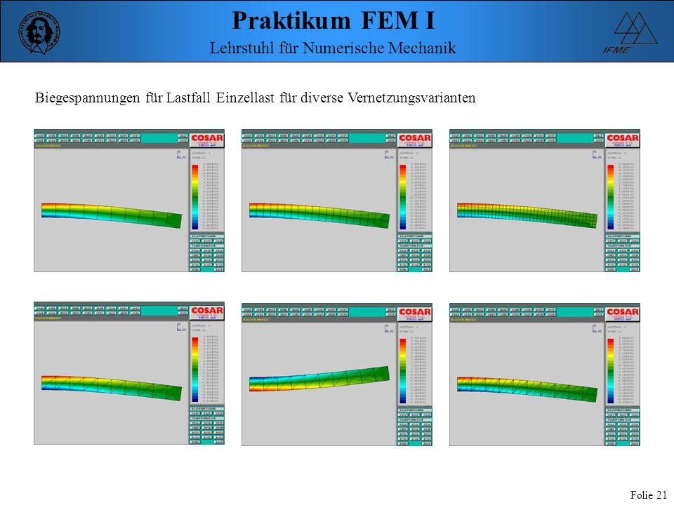 Praktikum FEM I Folie 21 Lehrstuhl für Numerische Mechanik Biegespannungen für Lastfall Einzellast für diverse Vernetzungsvarianten