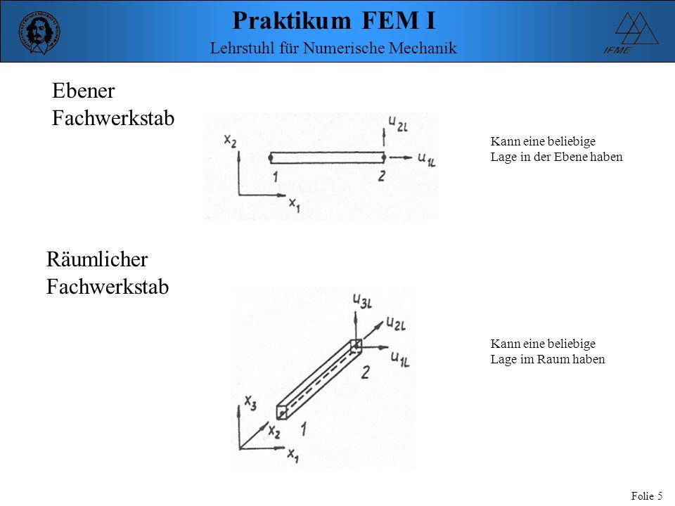 Praktikum FEM I Folie 5 Lehrstuhl für Numerische Mechanik Ebener Fachwerkstab Räumlicher Fachwerkstab Kann eine beliebige Lage in der Ebene haben Kann