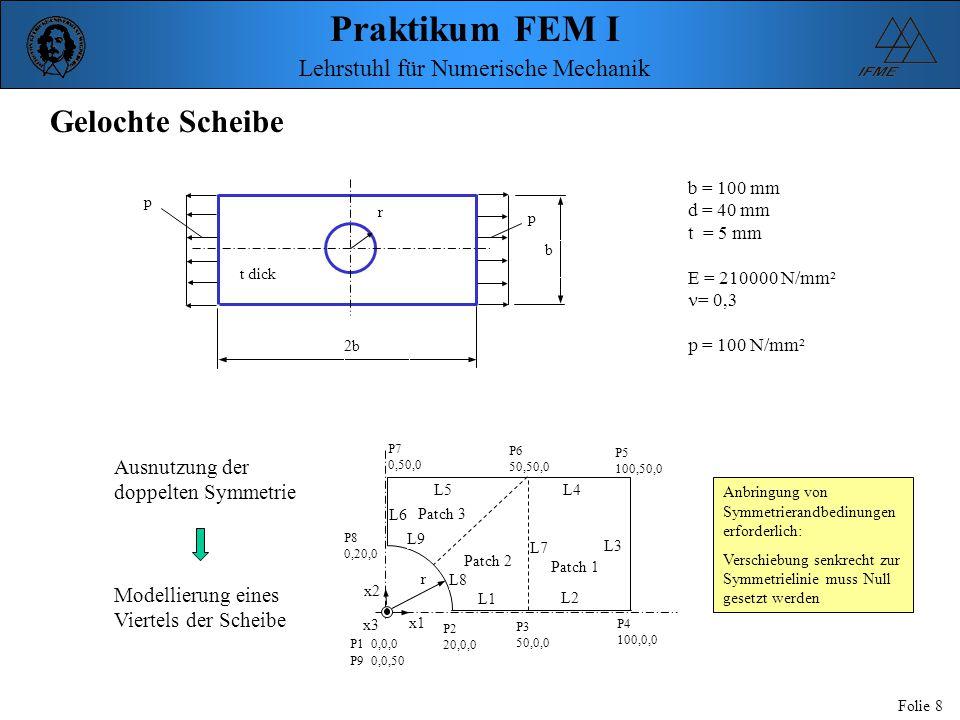Praktikum FEM I Folie 8 Lehrstuhl für Numerische Mechanik b t dick r 2b Gelochte Scheibe b = 100 mm d = 40 mm t = 5 mm E = 210000 N/mm² = 0,3 p = 100