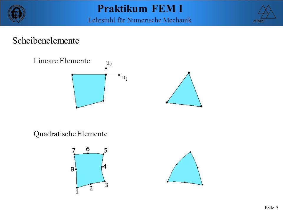 Praktikum FEM I Folie 9 Lehrstuhl für Numerische Mechanik Scheibenelemente Lineare Elemente Quadratische Elemente u2u2 u1u1