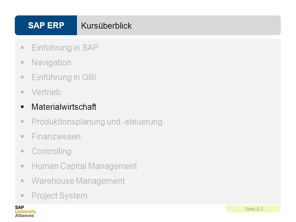 SAP ERP Seite 5-2 Kursüberblick  Einführung in SAP  Navigation  Einführung in GBI  Vertrieb  Materialwirtschaft  Produktionsplanung und -steueru