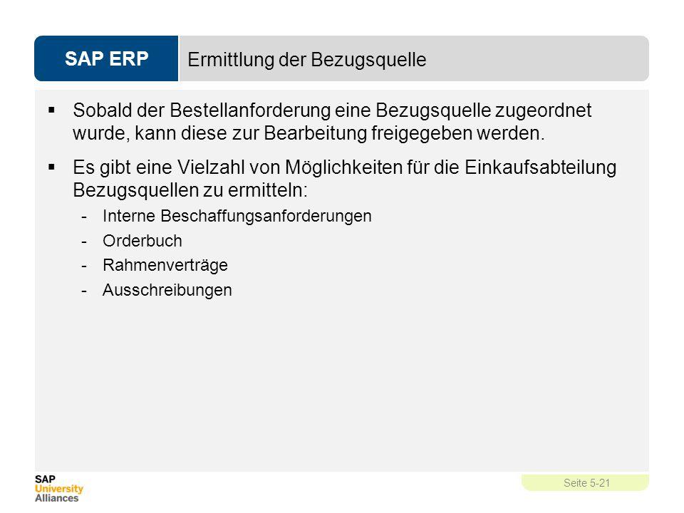 SAP ERP Seite 5-21 Ermittlung der Bezugsquelle  Sobald der Bestellanforderung eine Bezugsquelle zugeordnet wurde, kann diese zur Bearbeitung freigege