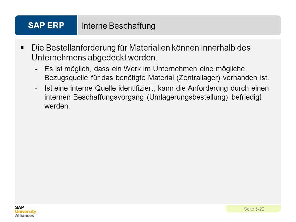 SAP ERP Seite 5-22 Interne Beschaffung  Die Bestellanforderung für Materialien können innerhalb des Unternehmens abgedeckt werden. -Es ist möglich, d