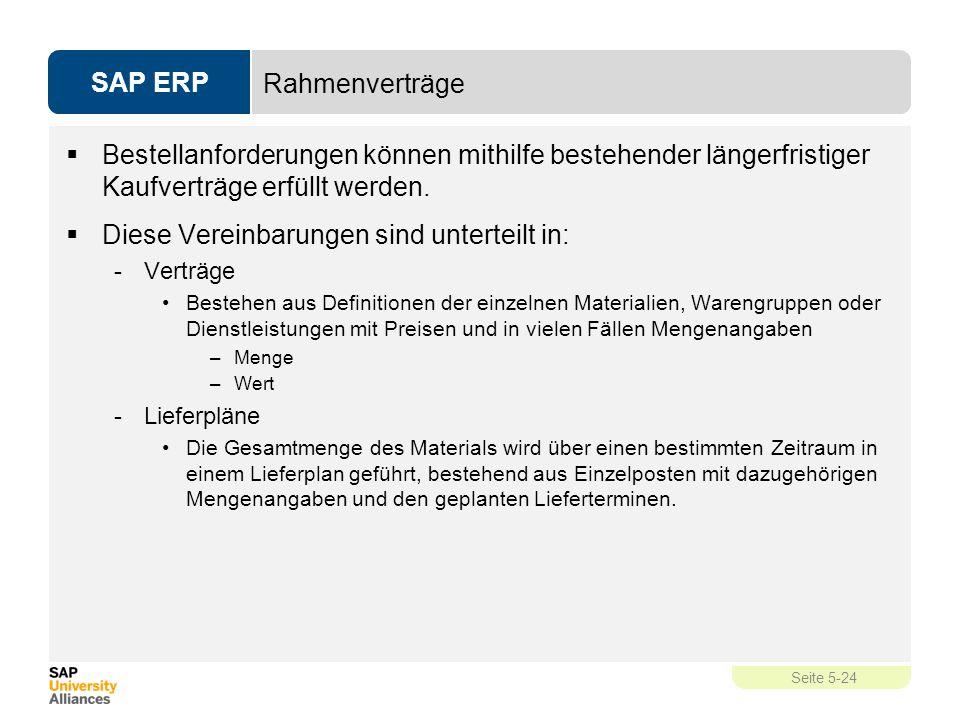 SAP ERP Seite 5-24 Rahmenverträge  Bestellanforderungen können mithilfe bestehender längerfristiger Kaufverträge erfüllt werden.  Diese Vereinbarung