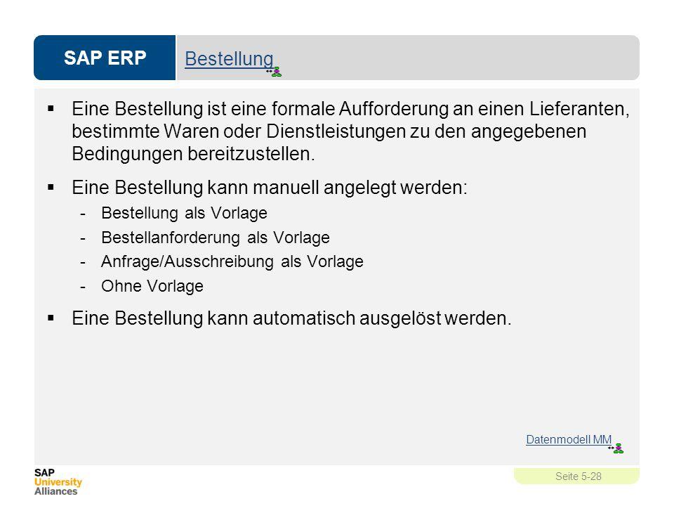 SAP ERP Seite 5-28 Bestellung  Eine Bestellung ist eine formale Aufforderung an einen Lieferanten, bestimmte Waren oder Dienstleistungen zu den angeg