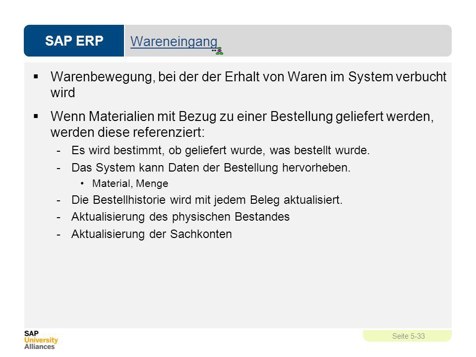 SAP ERP Seite 5-33 Wareneingang  Warenbewegung, bei der der Erhalt von Waren im System verbucht wird  Wenn Materialien mit Bezug zu einer Bestellung