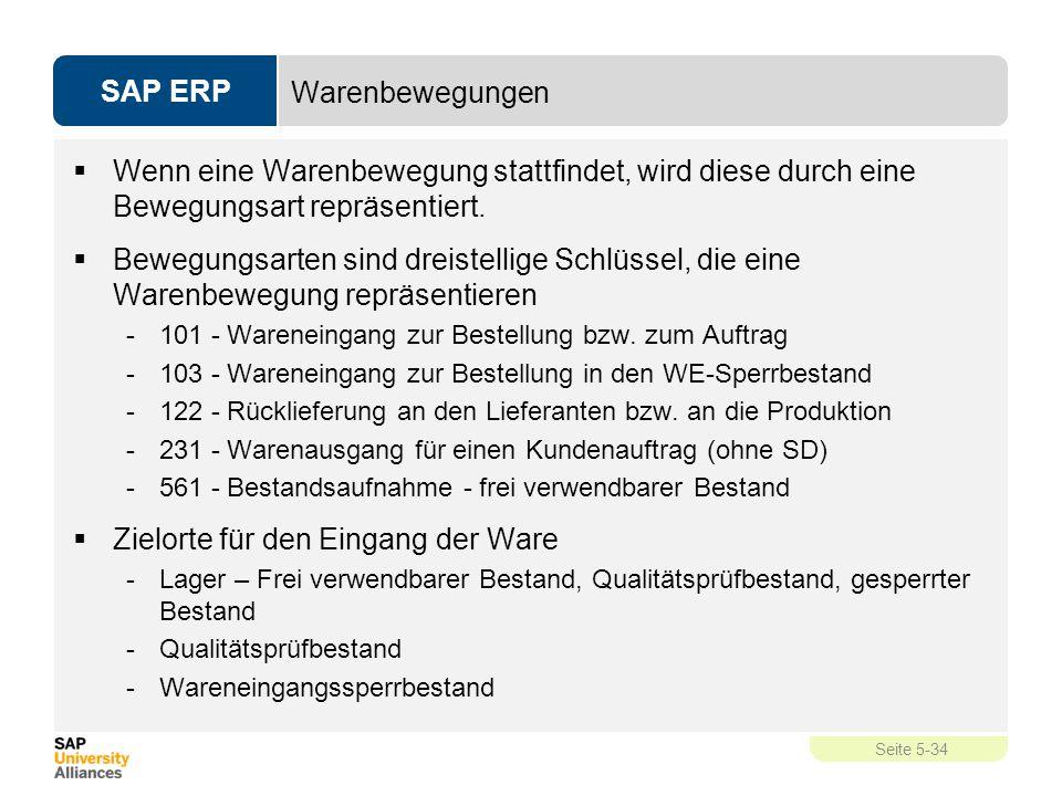 SAP ERP Seite 5-34 Warenbewegungen  Wenn eine Warenbewegung stattfindet, wird diese durch eine Bewegungsart repräsentiert.  Bewegungsarten sind drei