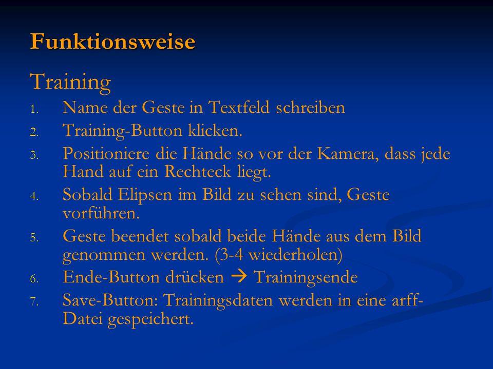 Funktionsweise Training 1. 1. Name der Geste in Textfeld schreiben 2. 2. Training-Button klicken. 3. 3. Positioniere die Hände so vor der Kamera, dass