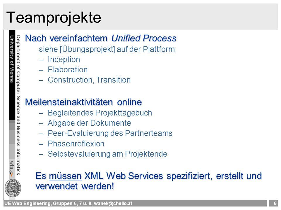 UE Web Engineering, Gruppen 6, 7 u. 8, wanek@chello.at6 Teamprojekte Nach vereinfachtem Unified Process siehe [Übungsprojekt] auf der Plattform –Incep