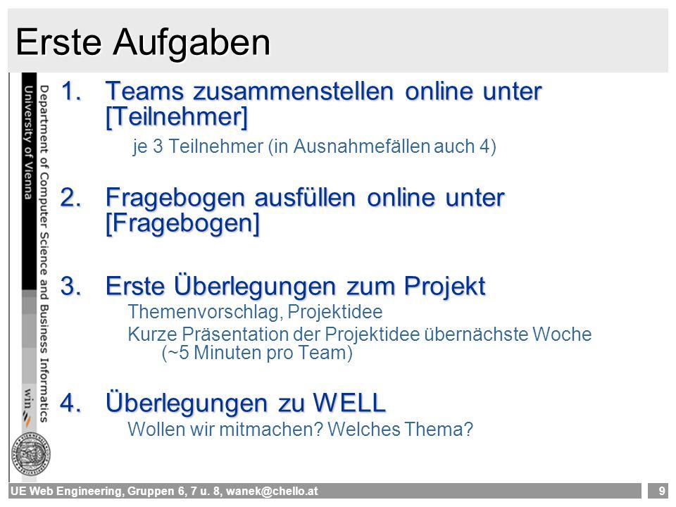 UE Web Engineering, Gruppen 6, 7 u. 8, wanek@chello.at9 Erste Aufgaben 1.Teams zusammenstellen online unter [Teilnehmer] je 3 Teilnehmer (in Ausnahmef