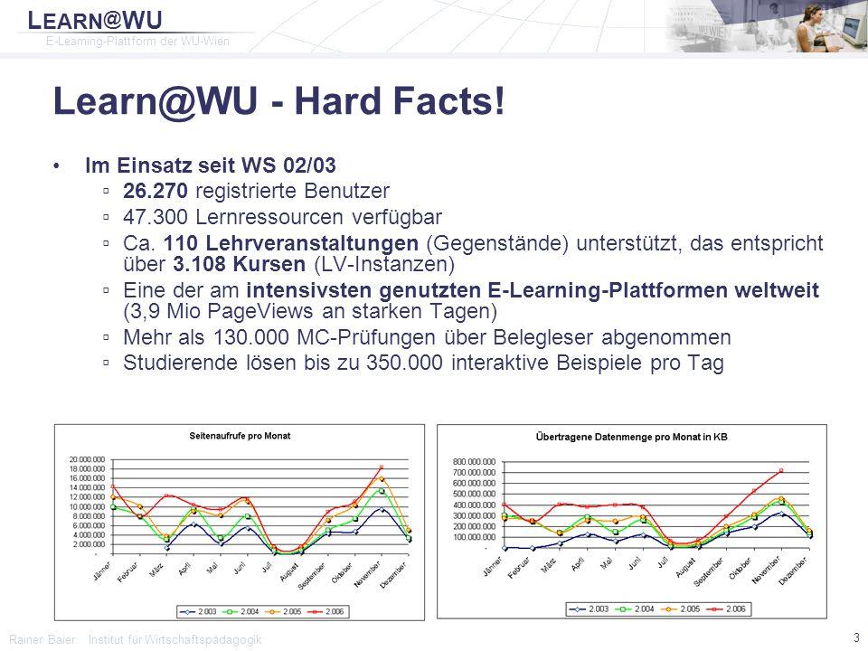 L EARN @ WU E-Learning-Plattform der WU-Wien Rainer Baier Institut für Wirtschaftspädagogik 4 Funktionsumfang Learn@WU Personalisierung - Individuelle Portalseite - Termine - Tasks - Lernstatistiken - Lernfortschritt - Notizen - Bookmarks - Dateiablage Lerninhalte - Inhaltskatalog - E-Books/E-Scripts - Glossar - Lernfortschrittskontrolle - Interaktive Musterklausuren - Downloads Lehrveranstaltungsevaluierung Prüfungen - Automatisierte Korrektur - Belegleser - Web Einsicht Information - Syllabus - Aktuelle Ankündigungen - Terminverwaltung - FAQs Kommunikation - Diskussionsforen - Rundmail - Feedback zu Lehrinhalten Lehrunterstützung - Aufgabenverwaltung - Notenbuch - Projektarbeits-Modul