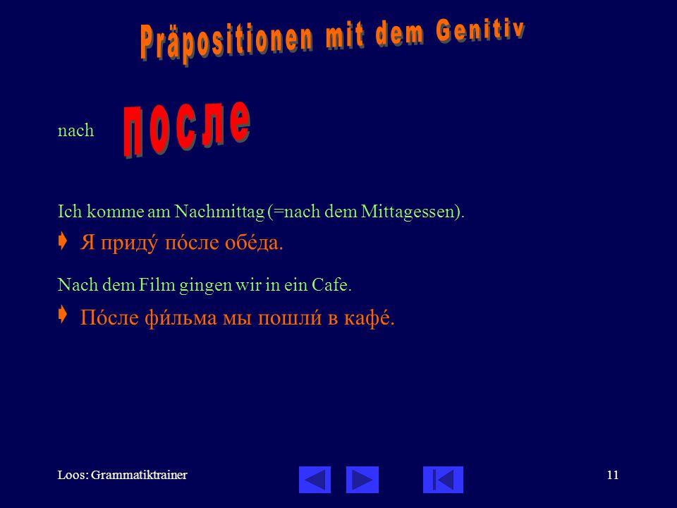 Loos: Grammatiktrainer11 nach Ich komme am Nachmittag (=nach dem Mittagessen).  Nach dem Film gingen wir in ein Cafe.  Я придó пîсле обåда. Пîсле фè