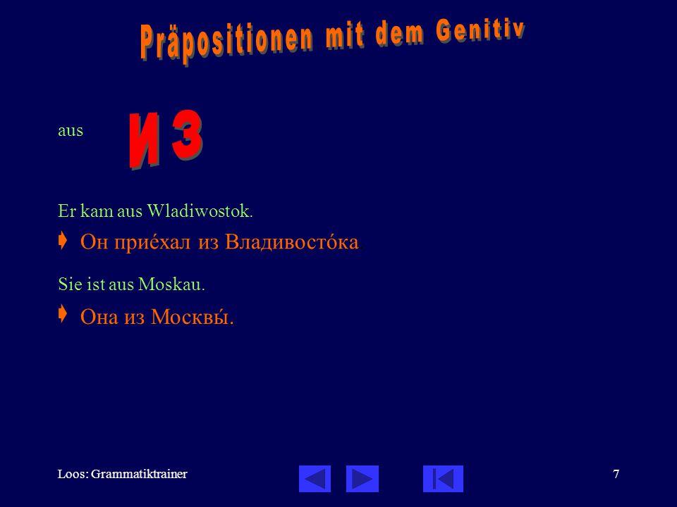 Loos: Grammatiktrainer7 aus Er kam aus Wladiwostok.  Sie ist aus Moskau.  Он приåхал из Владивостîка. Она из Москвû.