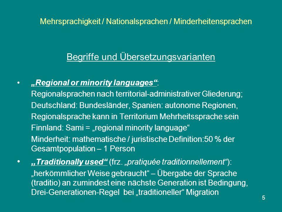 """Mehrsprachigkeit / Nationalsprachen / Minderheitensprachen """"Official language (frz."""