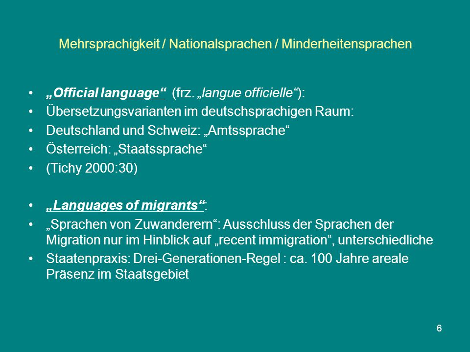 Mehrsprachigkeit / Nationalsprachen / Minderheitensprachen CHARTER: PART I / Article 2 / Undertakings (1)Each Party undertakes to apply the provisions of Part II to all the regional or minority languages spoken within its territory and which comply with the definition in Article 1.