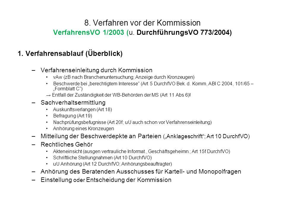 8. Verfahren vor der Kommission VerfahrensVO 1/2003 (u. DurchführungsVO 773/2004) 1. Verfahrensablauf (Überblick) –Verfahrenseinleitung durch Kommissi
