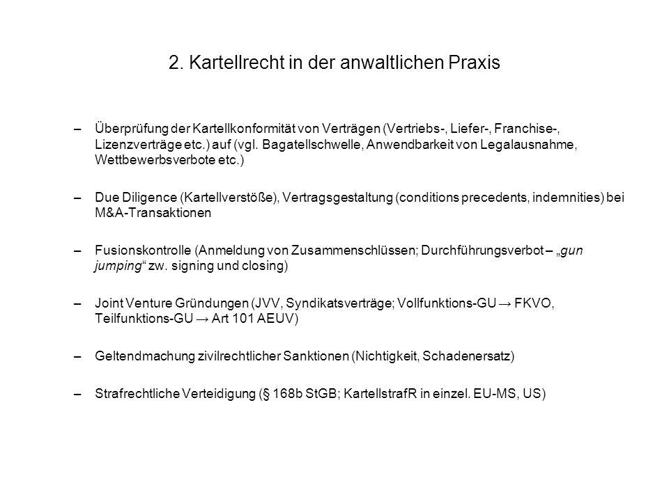 2. Kartellrecht in der anwaltlichen Praxis –Überprüfung der Kartellkonformität von Verträgen (Vertriebs-, Liefer-, Franchise-, Lizenzverträge etc.) au