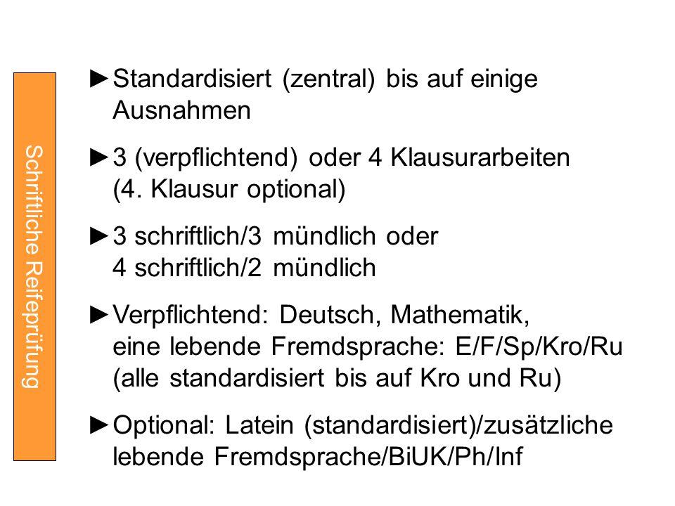 Schriftliche Reifeprüfung ►Standardisiert (zentral) bis auf einige Ausnahmen ►3 (verpflichtend) oder 4 Klausurarbeiten (4. Klausur optional) ►3 schrif