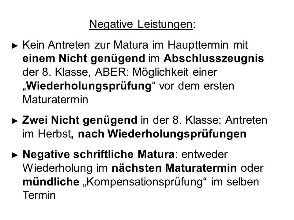 """Negative Leistungen: ► Kein Antreten zur Matura im Haupttermin mit einem Nicht genügend im Abschlusszeugnis der 8. Klasse, ABER: Möglichkeit einer """"Wi"""