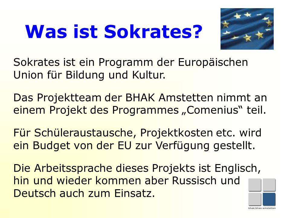 Was ist Sokrates. Sokrates ist ein Programm der Europäischen Union für Bildung und Kultur.