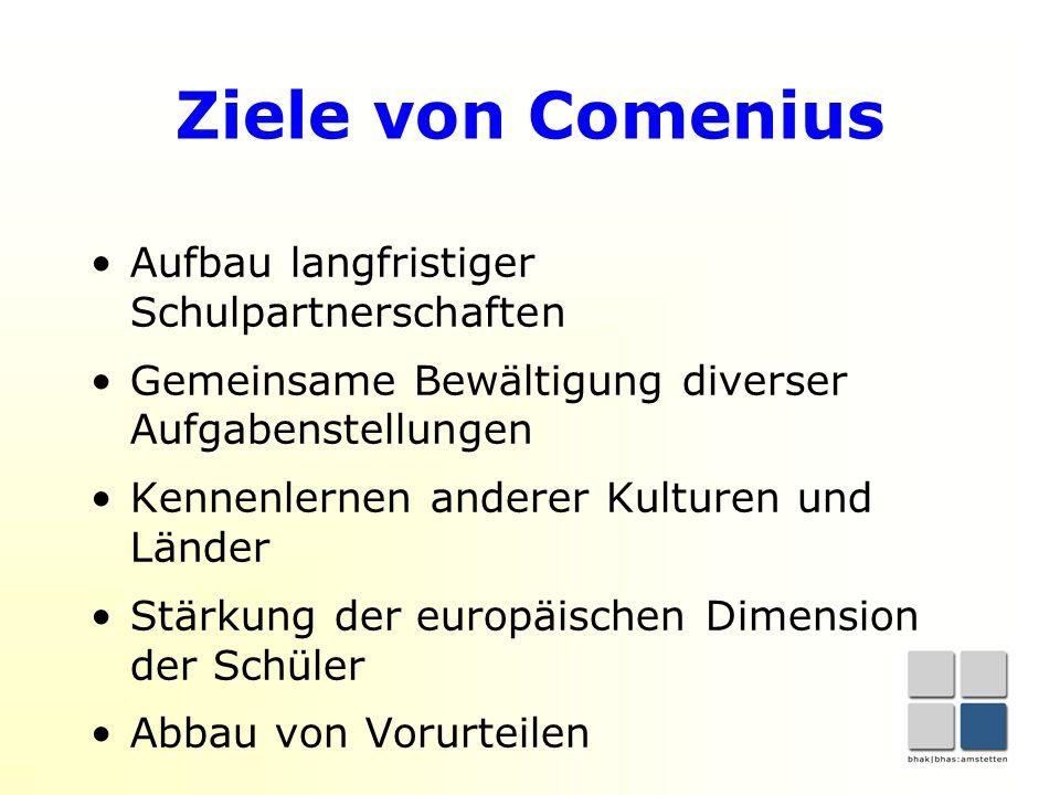 Ziele von Comenius Aufbau langfristiger Schulpartnerschaften Gemeinsame Bewältigung diverser Aufgabenstellungen Kennenlernen anderer Kulturen und Länder Stärkung der europäischen Dimension der Schüler Abbau von Vorurteilen