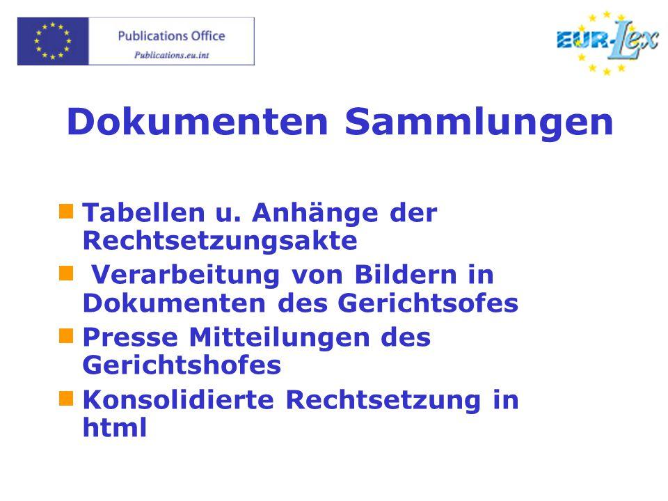 Dokumenten Sammlungen  Tabellen u.