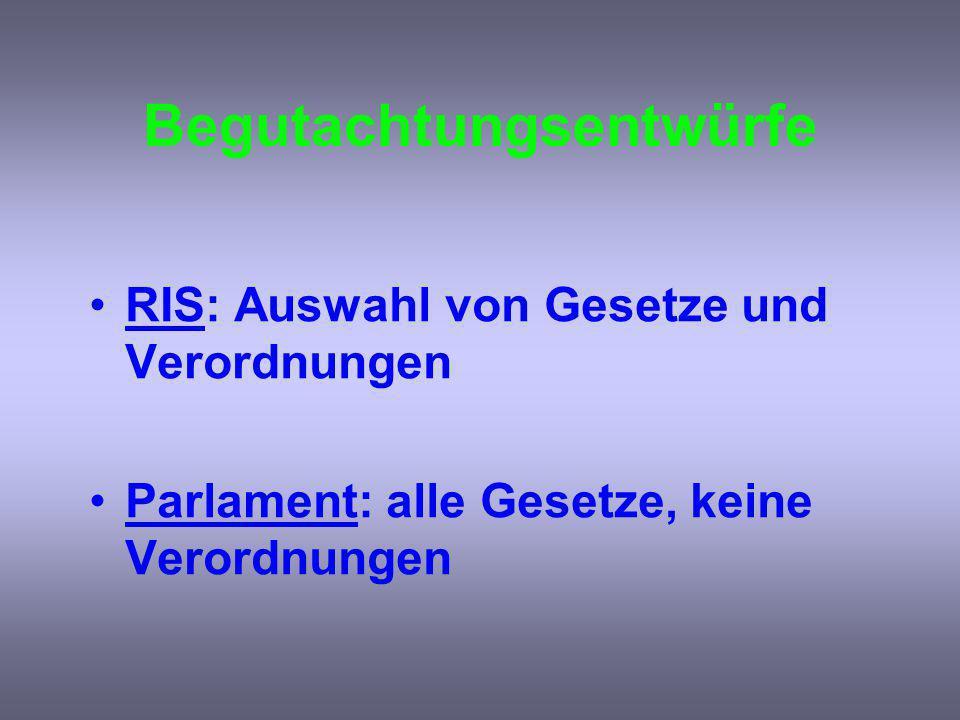 Begutachtungsentwürfe RIS: Auswahl von Gesetze und Verordnungen Parlament: alle Gesetze, keine Verordnungen