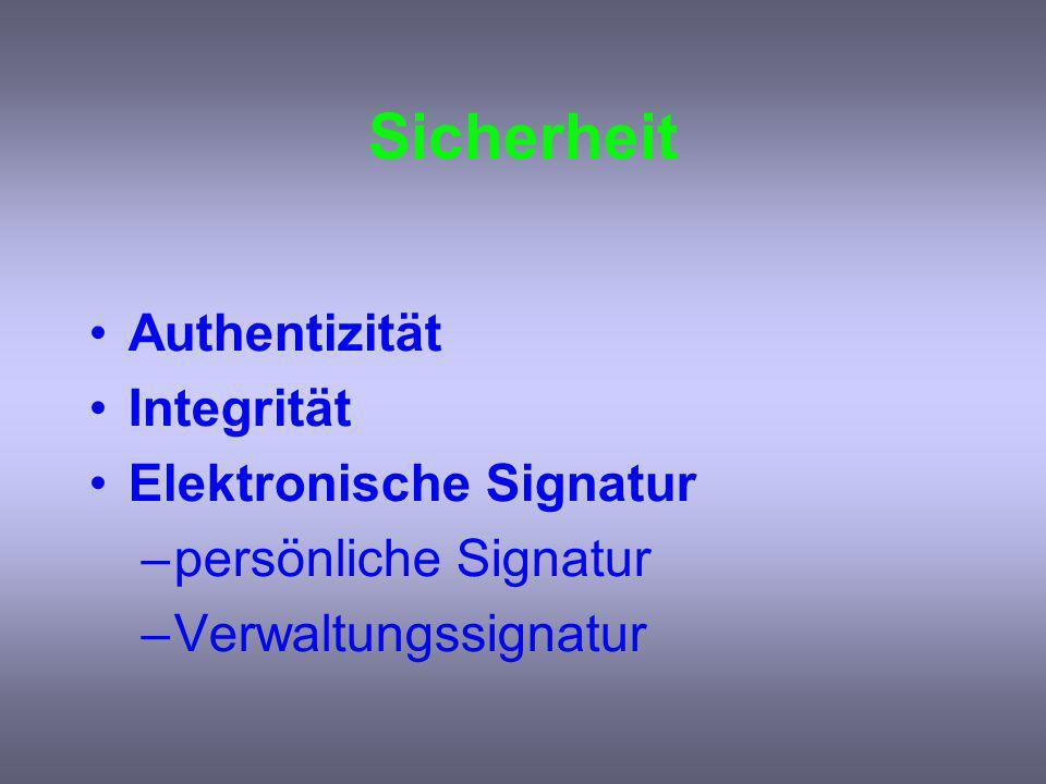 Sicherheit Authentizität Integrität Elektronische Signatur –persönliche Signatur –Verwaltungssignatur