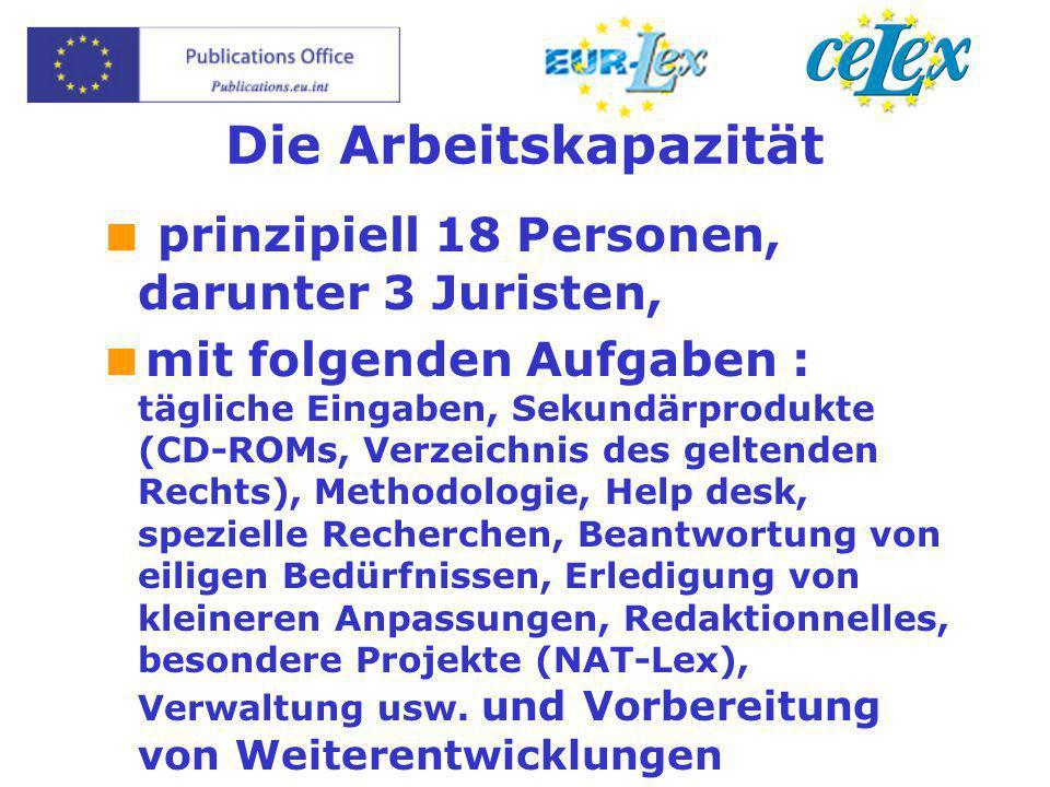 Die Arbeitskapazität  prinzipiell 18 Personen, darunter 3 Juristen,  mit folgenden Aufgaben : tägliche Eingaben, Sekundärprodukte (CD-ROMs, Verzeich