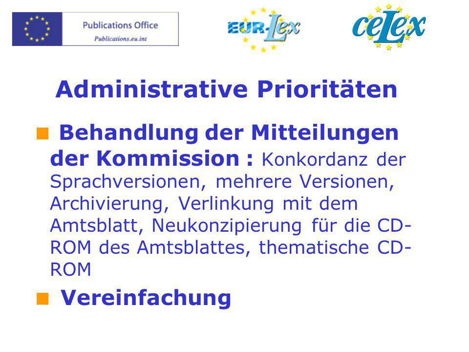 Administrative Prioritäten  Behandlung der Mitteilungen der Kommission : Konkordanz der Sprachversionen, mehrere Versionen, Archivierung, Verlinkung