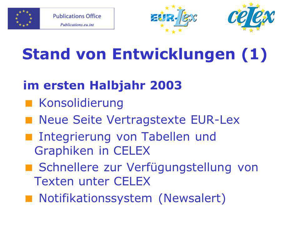 Stand von Entwicklungen (1) im ersten Halbjahr 2003  Konsolidierung  Neue Seite Vertragstexte EUR-Lex  Integrierung von Tabellen und Graphiken in C